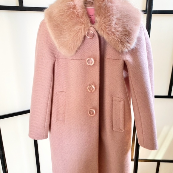 Kate Spade Pink Metallic Twill Coat - Size 0